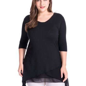 Chicwe Women's Layered Knit Plus Size Top Blouse with Chiffon Trim 1X-4X