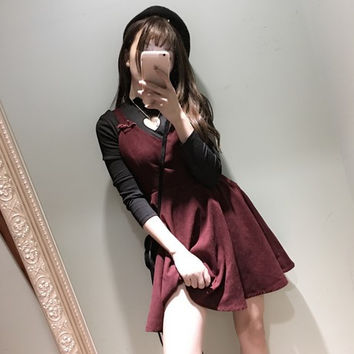 Vintage Elegant Girl Slimfit Women's Winter Velvet Dress Sleeveless Suspender Dress Cute Japanese Style One Piece Black & Wine