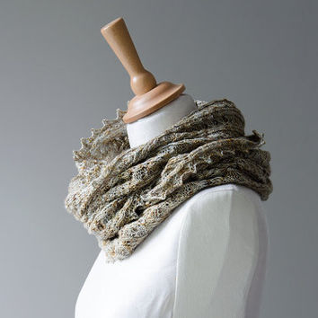 Silk knitted cowl, silk möbius scarf, wool cowl, snood, knitted wrap, silver gold bronze colour hand dyed yarn 'Tuck'