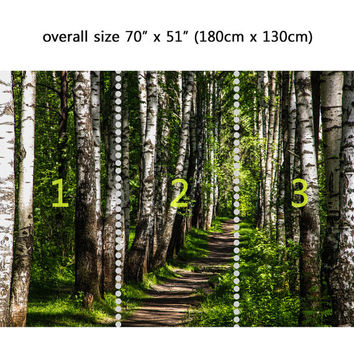 Wall Mural Forest and sunshine, Peel and Stick Repositionable Fabric Wallpaper for Interior Home Decor