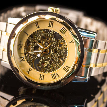 "Mens Mechanical Windup Luxury Skeleton Watch ""Bones"""