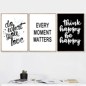 Motivational Inspiring Quotes Wall Art Canvas Painting Nordic Posters And Prints Black White Wall Pictures For Living Room Decor