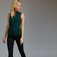 Sleeveless Zip Front Ribbed Top