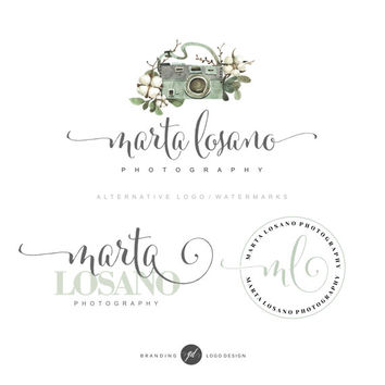 Photography branding package Photography logo, Camera logo, Branding kit, Premade logo, Watermark, Watercolor logo