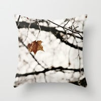 Throw Pillow Cover Frozen Art Photo Indoor Outdoor Pillow Covers photography white frost Brown leaf nature tree neutral earth tones gray
