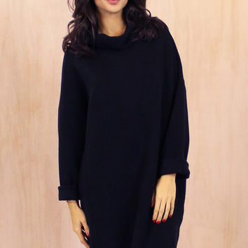 Oversized Cocoon Roll Neck Ribbed Long Sleeve Jumper in Black