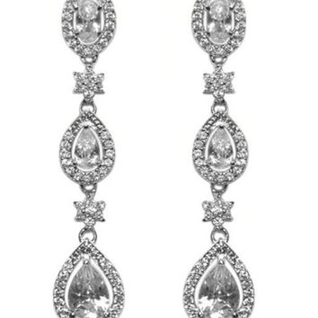 Trina Tree Pear Drop Linear Chandelier Earrings | 10ct | Cubic Zirconia | Silver