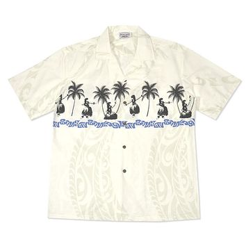 hula girls white hawaiian border shirt