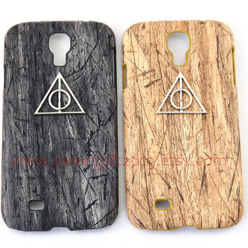 Harry potter Deathly Hallows Samsung Galaxy S3 i9300 / S4 i9500 case, PU Leather iphone 4 4s / 5 5s case Wooden hard case