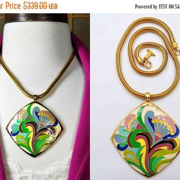 ON SALE Vintage Lanvin Paris Pop Art Enamel Pendant Necklace, Gold, Multi Color,  Diamond Shape, Mod, Psychedelic, Huge, Rare & Fab! #b815
