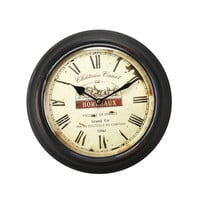 "Adeco Black Iron Vintage-Inspired Circular Wall Hanging Clock, ""Bordeaux"", Roman Numerals Home Decor"