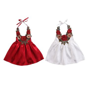 Toddler Kids Baby Girls Dress Party Rose 3D Flower Dress Pageant Clothes Summer 6M-5T