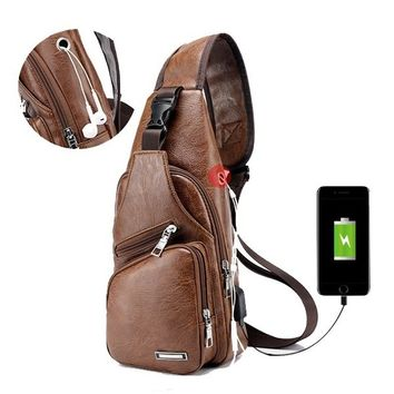 HOT Outdoor Shoulder USB Charging Port Chest Bag Travel Daypack Sling Bag Crossbody Bag For Men