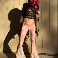Fairy pants! // music festival pants // hippie chic// tie dye bell bottoms // hippie wear// gypsy pants // hippie style // lace hippie flare