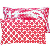 Pink Coral Decorative Pillow Cover 12x20 Lumbar Toss Cushion - Two Splendid Looks in One Cover - Bold and The Beautiful Pink Collection