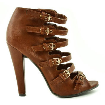 Reanna01 Whisky Pu By Wild Diva, Women's Military Strappy Buckle Cutout Open Toe Bootie High Heel