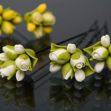 Cold porcelain handmade stylish beautiful elegant unique hair pins with flowers