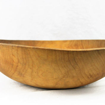 Large Antique Turned Wood Dough Bowl Solid Maple