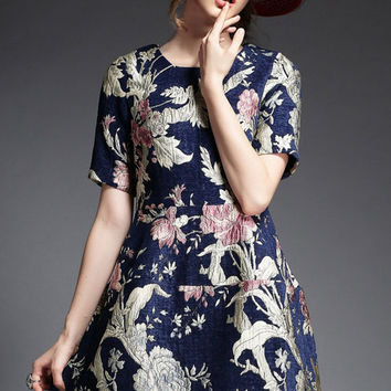 Navy Blue Floral Print Short Sleeve Mini Dress