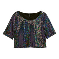 H&M - Short Sequined Top - Black - Ladies
