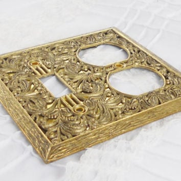 Vintage Filligree Metal Switch Plate Cover - French Decor, Victorian Decor, Light Touch, Farmhouse Decor, Home Decor, French Decor