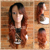 READY To SHIP // Long & Curly Lace Front Wig, Ombre Copper Red Wig, Dark Rooted Bombshell Wig // MERCY (Free Shipping)
