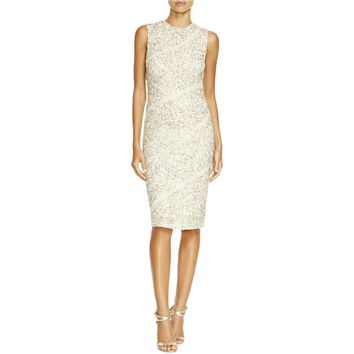 Alice + Olivia Womens Sitara Embellished Illusion Cocktail Dress