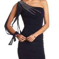 RUCHED ONE SHOULDER BODY-CON DRESS