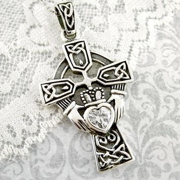 Celtic Claddagh Cross Necklace With Crystal Heart