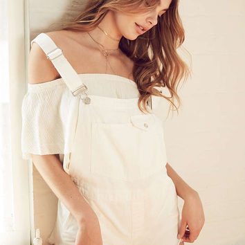 BDG Cali Frayed Shortall Overall - Urban Outfitters