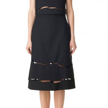 Tibi Vinales Cut Out A-Line Skirt