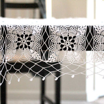 Hand crochet cotton white square lace tablecloth by katerynaG