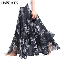 Uwback Women Chiffon Skirt Floral Floor Length Women Long Maxi Skirts Loose Boho Beach Skirt  Summer Fashion Wear, EB129