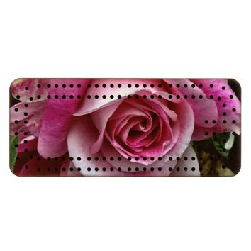 Pink Rose Wood Cribbage Board