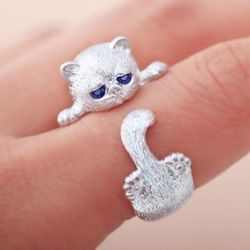 Sterling Silver Plated Playful Cat Ring