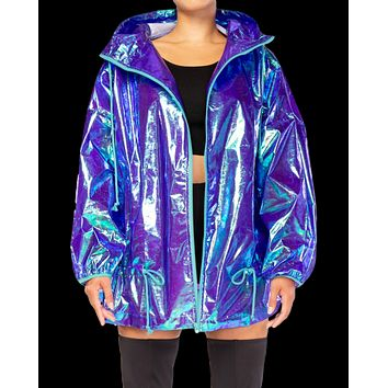 Iridescent Over-Sized Hooded Raincoat