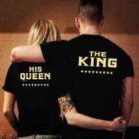 KING QUEEN Letters Printed Couples T-Shirt Tees Women Men Hipster Summer Fashion Lovers Tees Tops T shirt Plus Size XXL KH985369