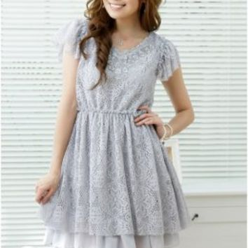 Women Fashion Graceful V Collar Grey Lace Dresses : Yoco-fashion.com