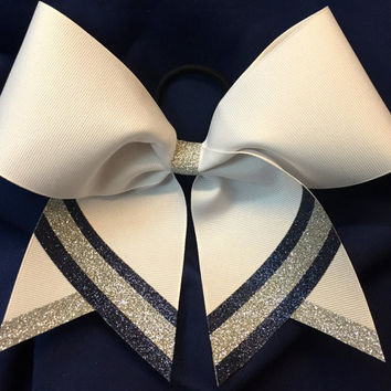 Custom made to your colors Cheer Glitter Grosgrain Bow