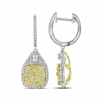 14kt White Gold Womens Round Canary Yellow Diamond Dangle Earrings 2-1-2 Cttw