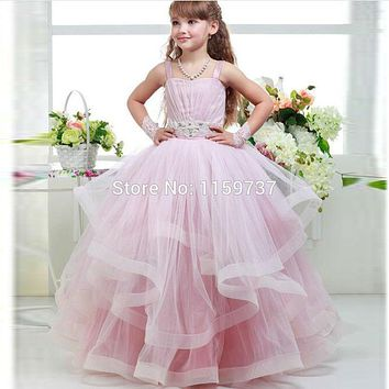 Little Princess Pink Ruffles Tulle Ball Gown Spaghetti Straps Flower Girl Dress Corset Back Vestido de nina de las flores