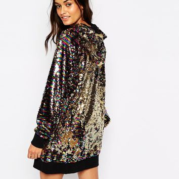 Story Of Lola Festival Longline All Over Sequin Hoodie Co-Ord