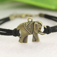 bracelet--lovely elephant bracelet,antique bronze charm bracelet,black cord,friendship gift,MORE COLORS