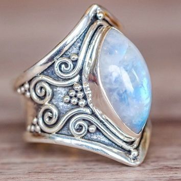 Vintage Silver Big Moonstone Stone Ring Fashion Bohemian Boho Jewelry