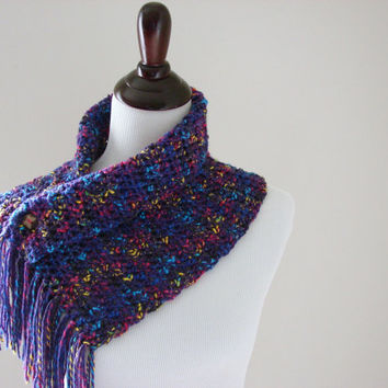 Crochet Cowl Scarf Purple Button Scarflette, MADE TO ORDER,Spring Fashion Accessories