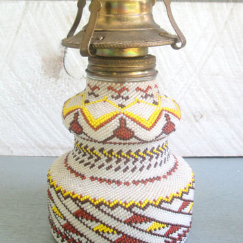 Antique Vintage Beaded Glass Oil Lamp Rare One of A Kind Huichol Beading