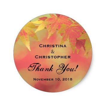 Autumn Maple Leaves Wedding Favors Thank You Classic Round Sticker