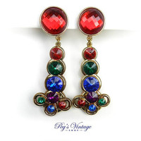 Retro Multi Color Bead Clip Earrings / Red, Purple, Blue And Green Rhinestone Bead Dangle Earrings