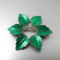 MAX ERLING Enamel Leaves Brooch. Emerald Green Guilloche Enamel Leaves Circle Wreath Brooch. Danish Enamel Jewelry