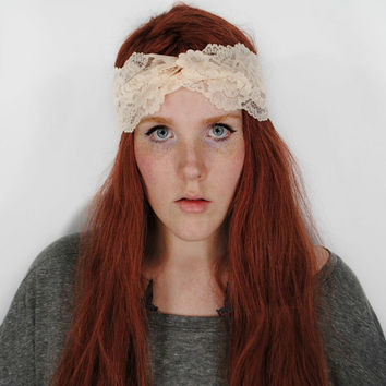 Lace Headband, Turban Headband, Cream Tan White headband, Boho Workout headband, Hair Wrap, Yoga headband, Burning Man turband // Doll
